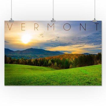 Vermont - Fall Sunrise - Lantern Press Photography (24x36 Giclee Gallery Print, Wall Decor Travel Poster)