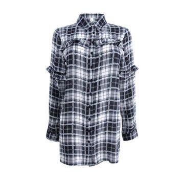 NY Collection Women's Ruffled Plaid Shirt (S, Black Cual Plaid) - Black Cual Plaid - S