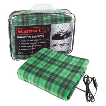 Electric Heater Car Blanket, 12 Volt by Stalwart, Green and Black
