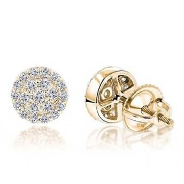 Luxurman Designer 14K Cluster Diamond Stud Earrings 0.43ct (Yellow)