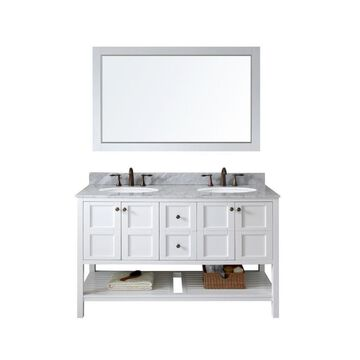 Virtu USA Winterfell 60-in White Undermount Double Sink Bathroom Vanity with Italian Carrara White Marble Top (Mirror Included)
