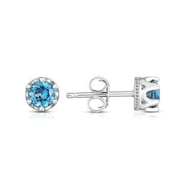 Noray Designs 14K White Gold London Blue Topaz Petite Stud Earrings (4 MM; Round Cut)
