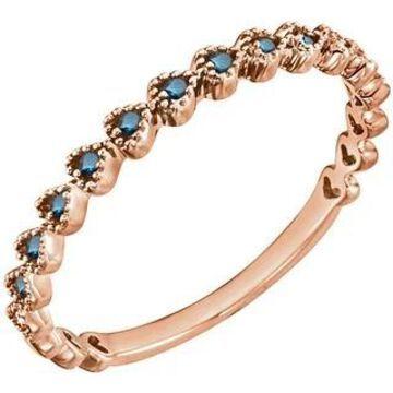 Auriya 10k Gold 0.06ctw Stackable Blue Diamond Wedding Band Ultra-thin (Rose - 8.5)