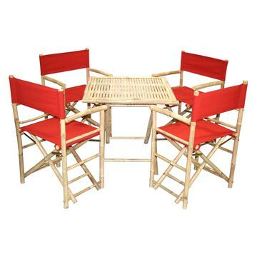 Bamboo54 Wood 5 Piece Square Patio Dining Set with Director Chairs