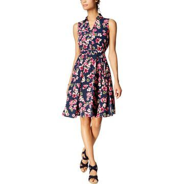 Charter Club Womens Petites Floral Sleeveless Shirtdress