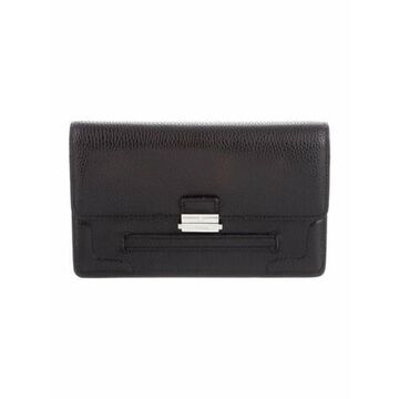 Grained Leather Clutch Black