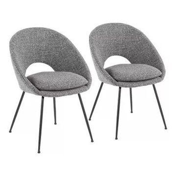 LumiSource Metro Chairs in Grey Fabric/Black (Set of 2)