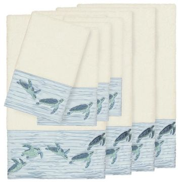 Authentic Hotel and Spa Turkish Cotton Turtles Embroidered Cream 8-piece Towel Set