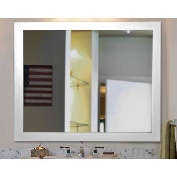 American Made Rayne White Satin Wide Vanity Wall Mirror