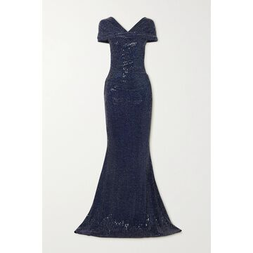TALBOT RUNHOF - Gathered Sequined Metallic Stretch-crepe Gown - Blue