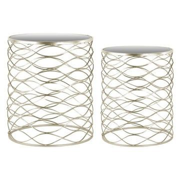 Metal Round Nesting Accent Tables, 2-Piece Set, Metallic Champagne