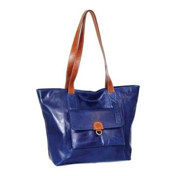Nino Bossi Women's Kiley Leather Tote Blue - US Women's One Size (Size None)
