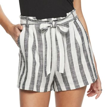 Juniors' Candie's Woven Belted Paper Bag Shorts