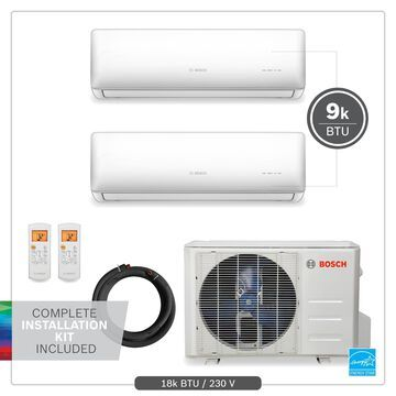Bosch 18000-BTU 230-Volt 23 SEER 900-sq Ductless Mini Split Air Conditioner and Heater with Installation Kit   8733954442