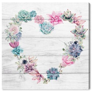 Oliver Gal Succulent Love 16-Inch Square Canvas Wall Art