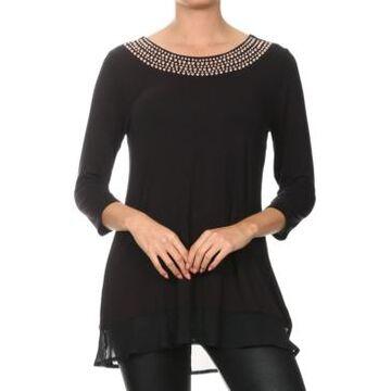 Belldini Studded Neckline Tunic Top