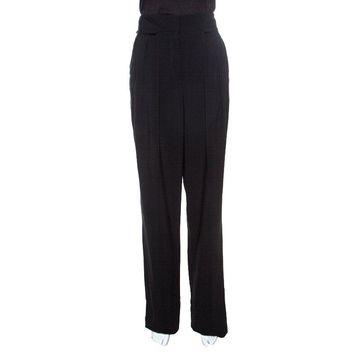 Emanuel Ungaro Black Pleat Front Straight Fit Trousers M