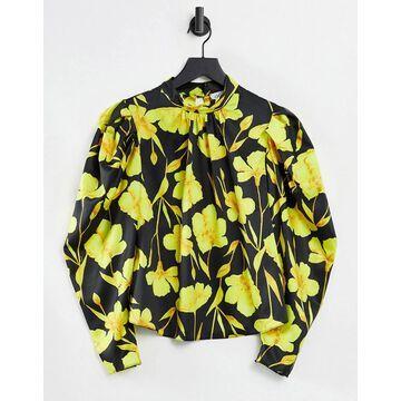 Closet London power shoulder long sleeve high neck top in ochre floral-Multi
