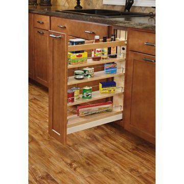 Rev-A-Shelf - 448-BCSC-5C - 5 in. Pull-Out Wood Base Cabinet Organizer with Soft-Close Slides