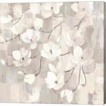 Metaverse Art Magnolias in Spring I Neutral Canvas Wall Art, Grey, 12X12