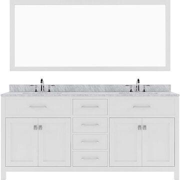 Virtu USA Caroline 72-in White Undermount Double Sink Bathroom Vanity with Italian Carrara White Marble Top (Mirror Included)