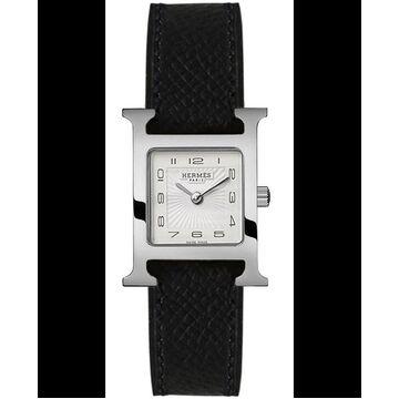 Hermes H Hour Quartz Small PM Black Calfskin Leather Women's Watch 036704WW00 036704WW00