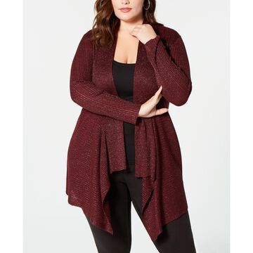 Plus Size Glitter Draped Open-Front Cardigan