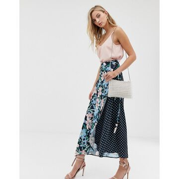Liquorish mix and match floral and polka print wrap skirt-Multi