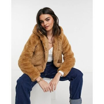 AX Paris hooded fur coat in camel-Neutral