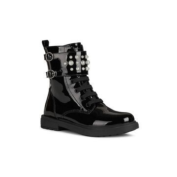 Geox Little Girl's & Girl's Eclair Faux Patent Leather Combat Boots