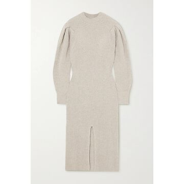Isabel Marant - Perrine Ribbed Cashmere And Wool-blend Midi Dress - Gray