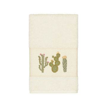 Authentic Hotel and Spa Turkish Cotton Cactus Embroidered Cream Hand Towel