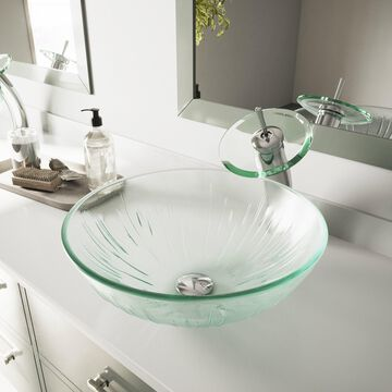 VIGO Icicles Glass Vessel Bathroom Sink and Waterfall Faucet Set