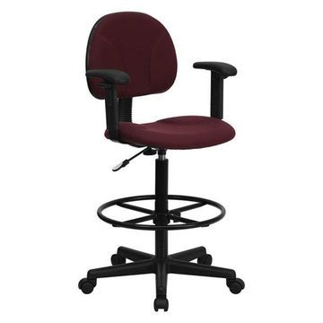 Offex Burgundy Fabric Ergonomic Drafting Stool with Arms