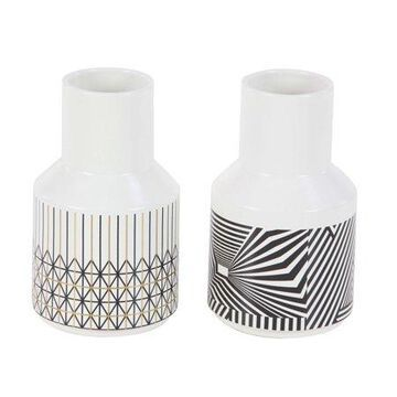 "DecMode 5""W, 9""H Dolomite Contemporary Vase, White, 2 - Pieces"