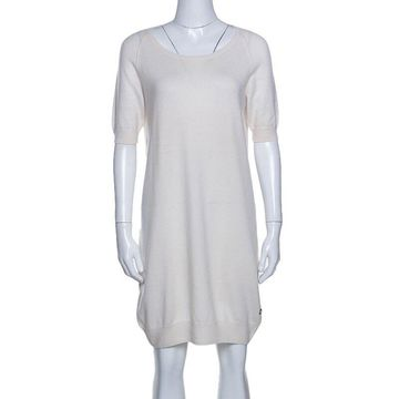 Loro Piana Cream Knit Short Sleeve Shift Dress M