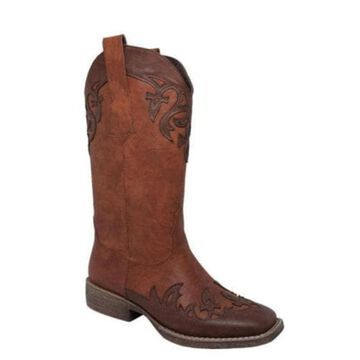 Women's AdTec 8612 13in Western Pull On Brown Faux Leather