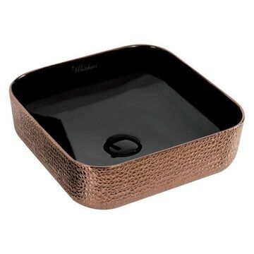 Whitehaus WH71303-F24 Square Basin With Embossed Exterior And Smooth Interior