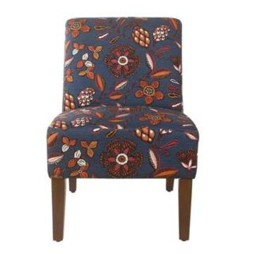 HomePop Armless Dining Accent Chair - Blue and Pink Floral (Multi-Color)