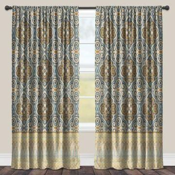 Laural Home Persian Antique 84-Inch Room-Darkening Rod Pocket Window Curtain Panel in Blue
