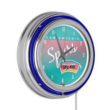 Trademark Gameroom San Antonio Spurs Clocks Analog Round Wall Clock in Chrome | NBA1400HC-SAS
