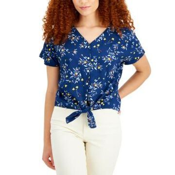 Style & Co Petite Tie-Front Floral Top, Created for Macy's