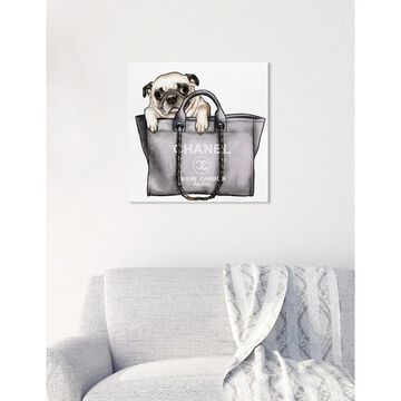 Oliver Gal 'Pug in the Bag' Fashion and Glam Wall Art Canvas Print - Black, Brown