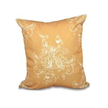 Morning Birds 16 Inch Gold Decorative Floral Throw Pillow