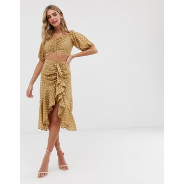 Finders Keepers Rosie polkadot ruffle two-piece skirt-Tan
