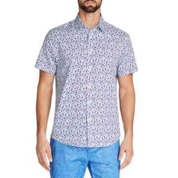 Tallia Men's Slim-Fit Performance Stretch Multi Floral Short Sleeve Shirt and a Free Face Mask With Purchase