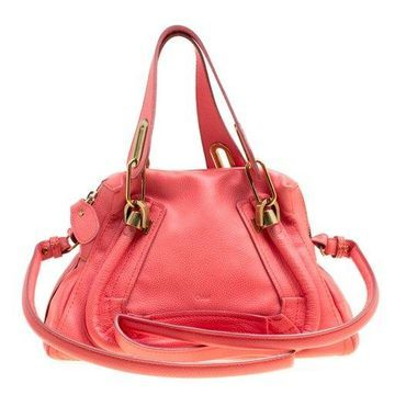 Chloe Coral Pink Leather Small Paraty Bag