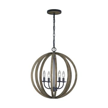 Feiss Allier 4-Light Weathered Oak Wood and Antique Forged Iron Transitional Chandelier | F2935/4WOW/AF