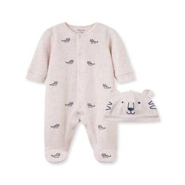 Little Me Size 3M 2-Piece Tiger Footie and Hat Set in Ivory