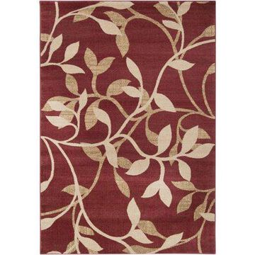 """Art of Knot Cedrela Red 7'10"""" Round Traditional Floral Area Rug"""